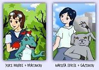 Fanart: Partners: Denrei & Dracomon; Shoji & Gazimon