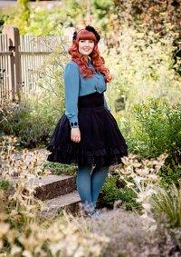 Cosplay-Cover: Lady Sloth High-Waist-Skirt black mit petrol